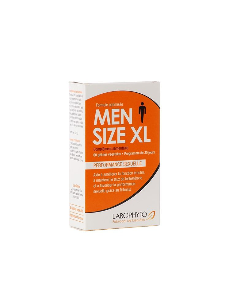 Men Size XL - Performance sexuelle pour l'homme 60 gélules - LaboPhyto