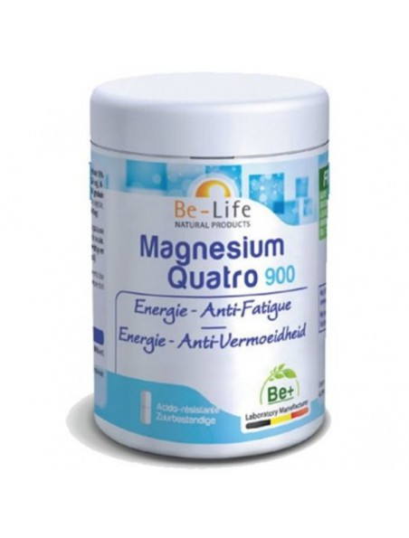 Magnésium Quatro 900 - Energie & Anti-fatigue 90 gélules - Be-Life