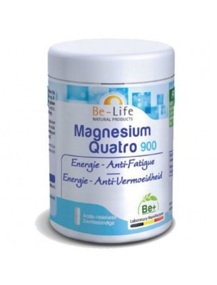 Magnésium Quatro 900 - Energie et Anti-fatigue 60 gélules - Be-Life