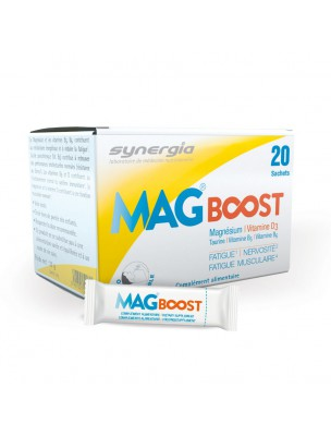 MagBoost - Magnésium, Taurine et Vitamines (D3, B5, B6) 20 sachets - Synergia