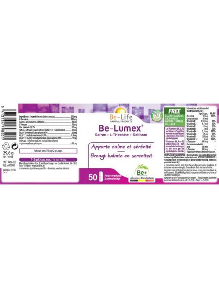 Be Lumex Safran & L-Theanine - Calme & Sérénité 50 gélules - Be-Life
