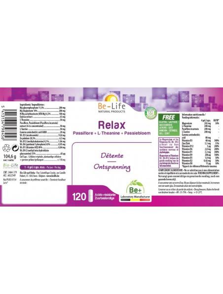 Relax Passiflore & Magnésium - Calme & Sommeil 120 gélules - Be-Life