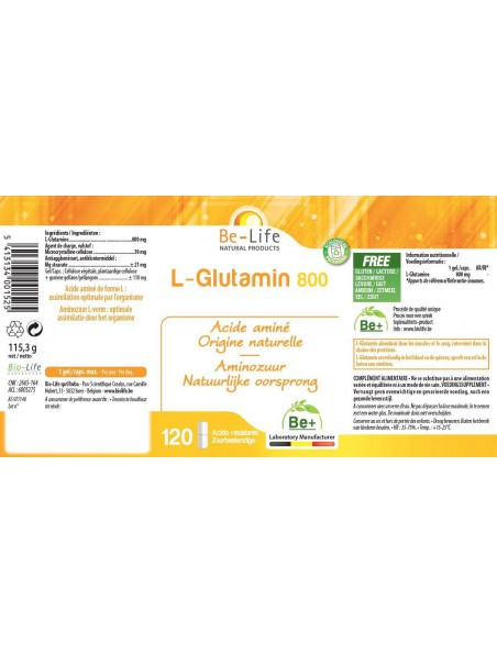 L-Glutamin 800 - Intestins Acide aminé essentiel d'origine naturelle 120 gélules - Be-Life