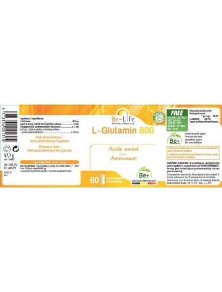 L-Glutamin 800 - Intestins Acide aminé essentiel d'origine naturelle 60 gélules - Be-Life