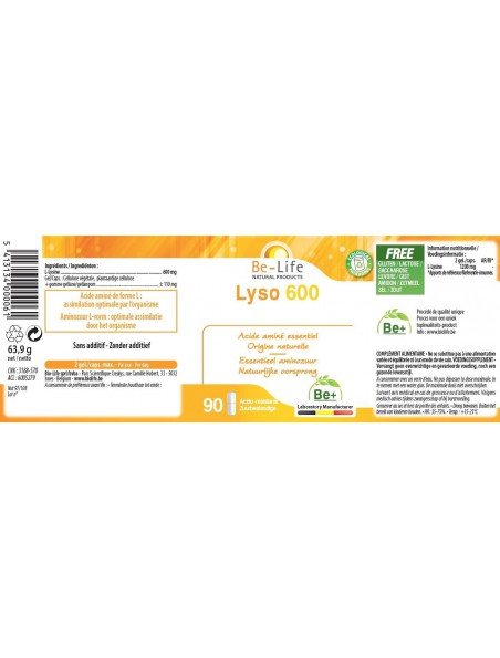 L-Lysine Lyso 600 mg - Herpès et fatigue 90 gélules - Be-Life