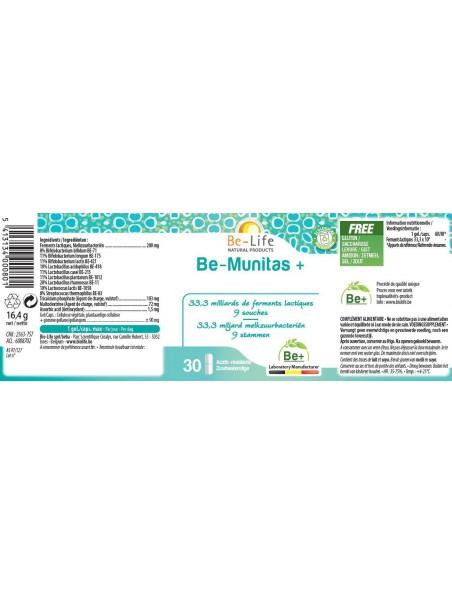 Be-Munitas+ - Probiotiques 33,3 milliards de ferments lactiques 30 gélules - Be-Life