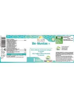 Be-Munitas+ - Probiotiques 33,3 milliards de ferments lactiques 60 gélules - Be-Life