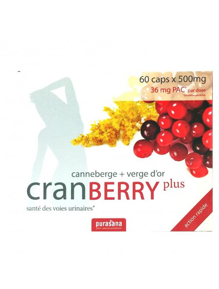 Cranberry plus - Canneberge & Verge d'or 60 capsules - Purasana