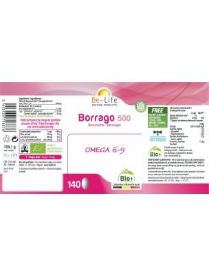 Borrago 500 Bio - Huile de Bourrache 140 capsules - Be-Life