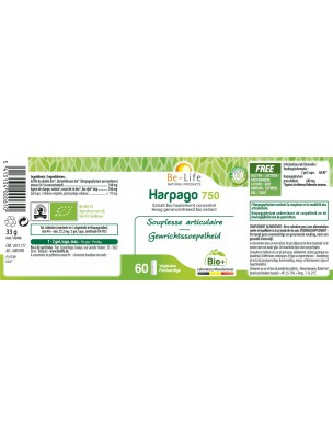 Harpago 750 Bio - Articulations & Souplesse 60 gélules - Be-Life