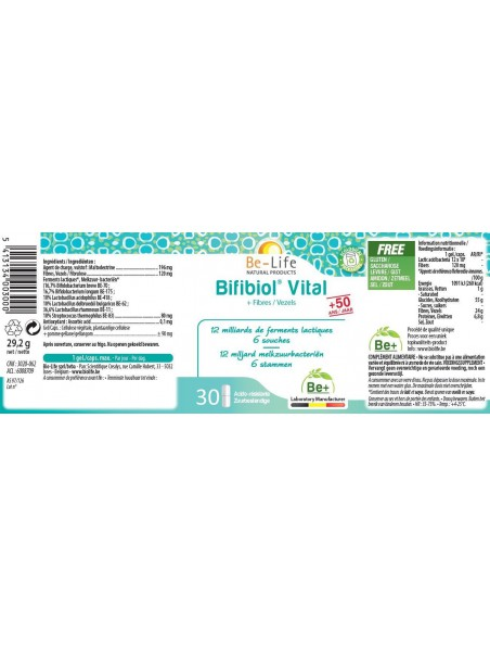 Bifibiol Vital 50 ans & Fibres - Probiotiques 12 milliards de ferments lactiques 30 gélules - Be-Life