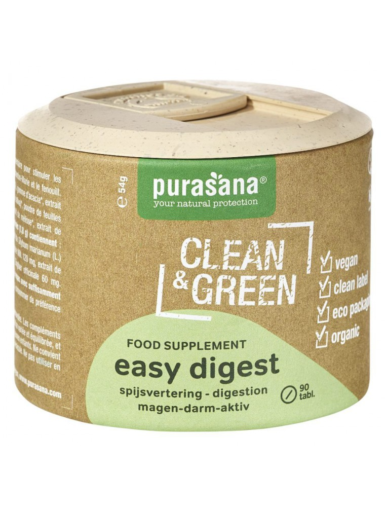 Easy Digest Clean and Green - Digestion 90 comprimés - Purasana