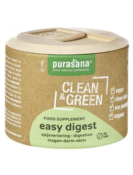 Easy Digest Clean & Green - Digestion 90 comprimés - Purasana