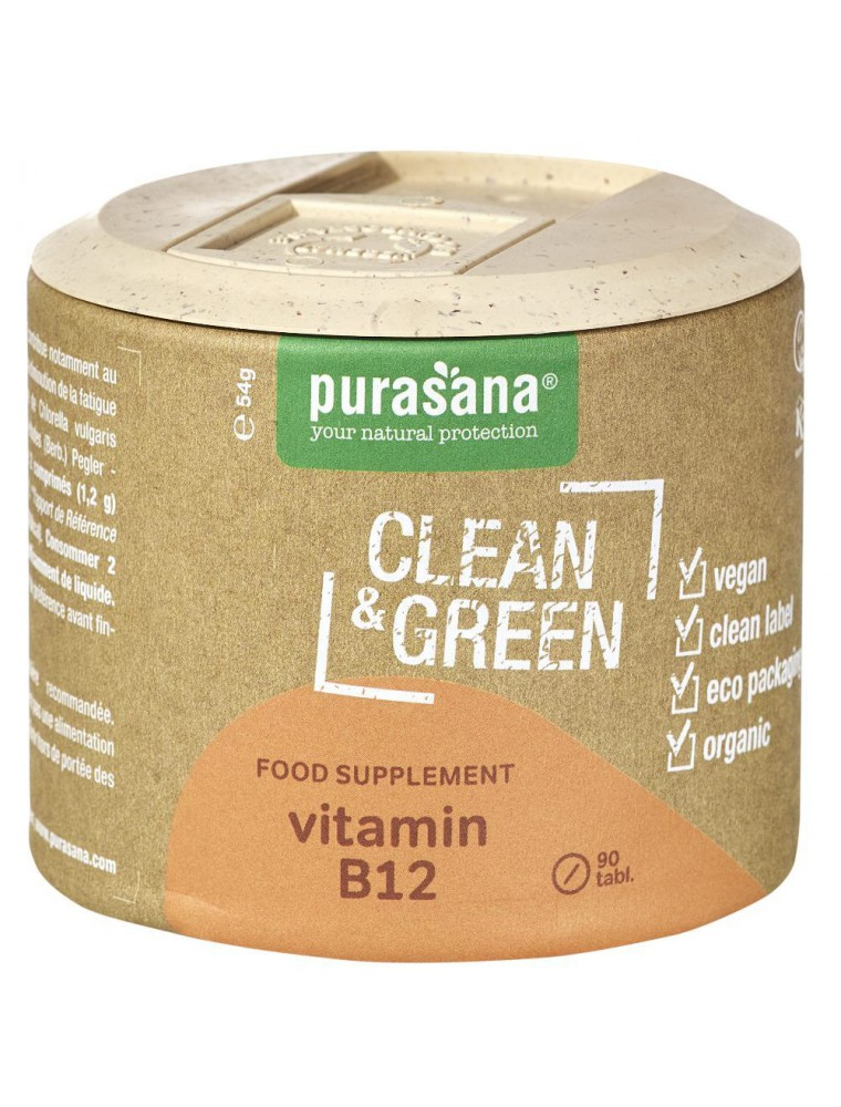 Vitamin B12 Clean & Green - Fatigue et Immunité 90 comprimés - Purasana