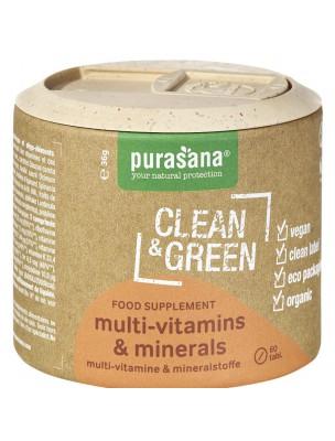 Multi-vitamins & minerals Clean & Green - Vitalité 60 comprimés - Purasana