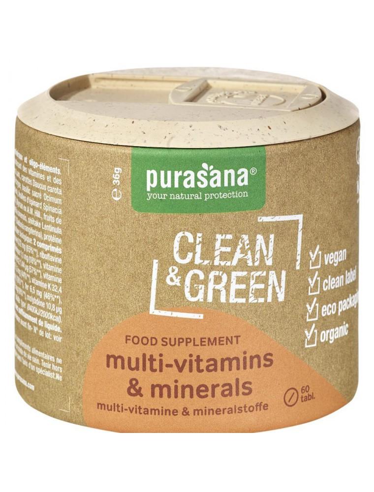 Multi-vitamins et minerals Clean and Green - Vitalité 60 comprimés - Purasana