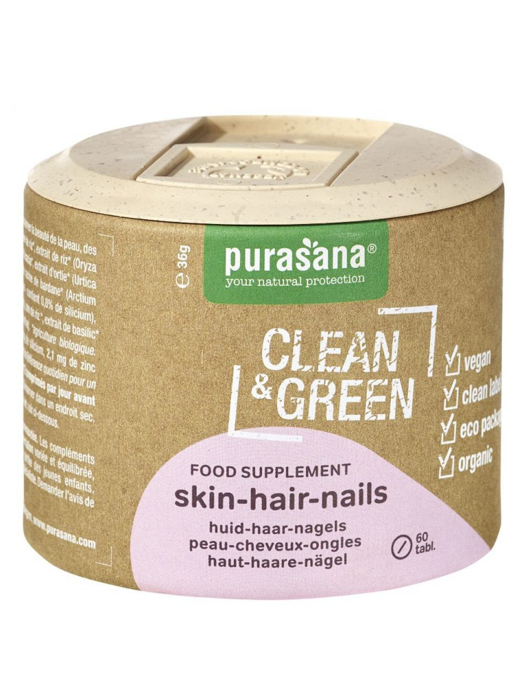 Skin-Hair-Nails Clean & Green - Articulations et Os 60 comprimés - Purasana