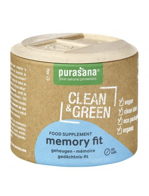 Memory Fit Clean & Green - Mémoire et Concentration 60 comprimés - Purasana