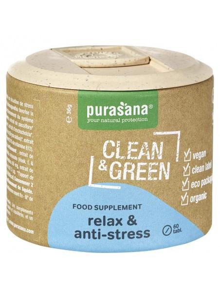 Relax & Anti-stress Clean & Green - Stress et Anxiété 60 comprimés - Purasana