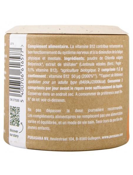 Vitamin B12 Clean & Green - Fatigue et Immunité 90 comprimés - Purasana