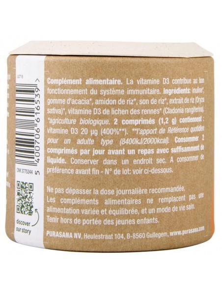 Vitamin D3 Clean & Green - Immunité 90 comprimés - Purasana