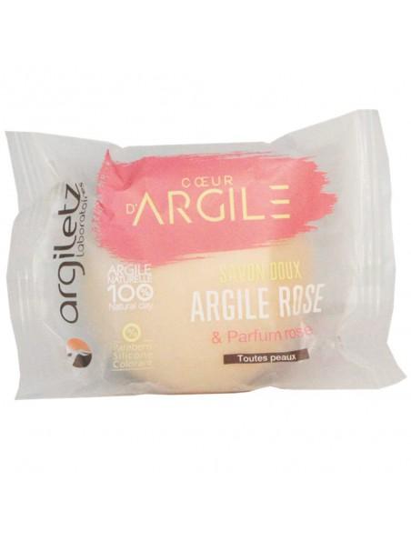 Savon doux et apaisant - Argile rose, parfum rose – 100g - Argiletz