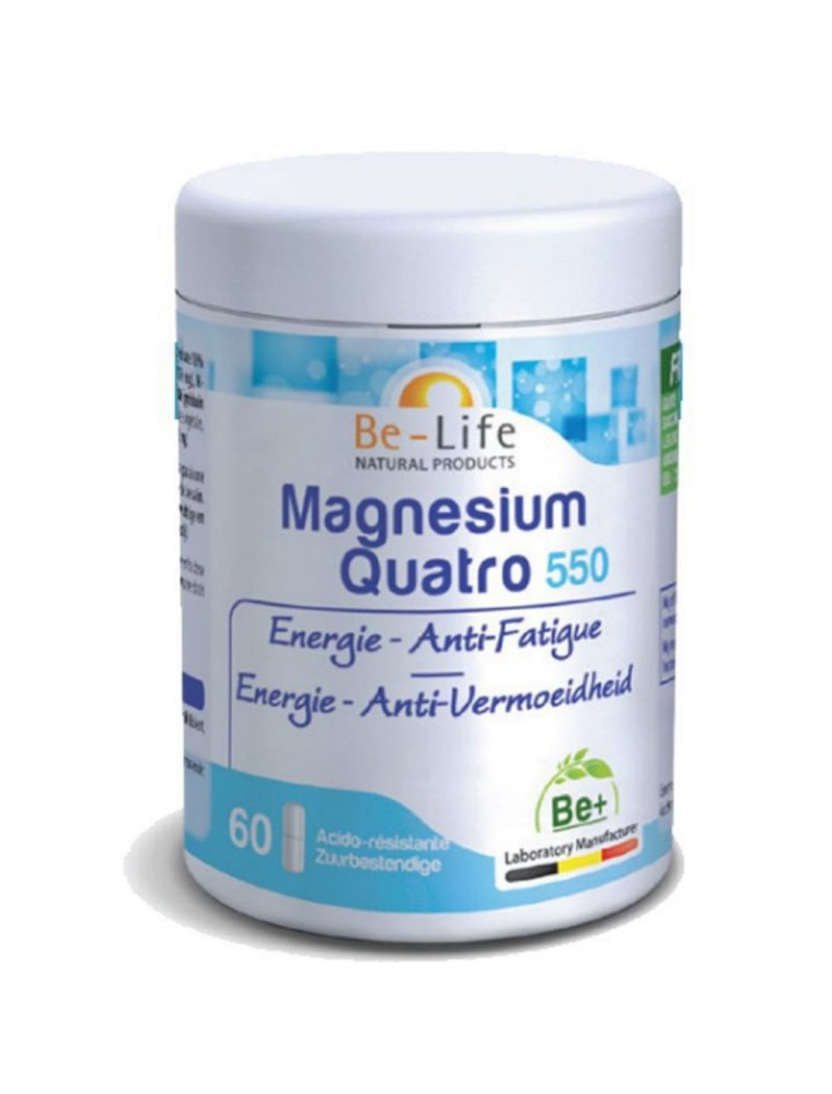 Magnésium Quatro 550 - Energie et Anti-fatigue 60 gélules - Be-Life