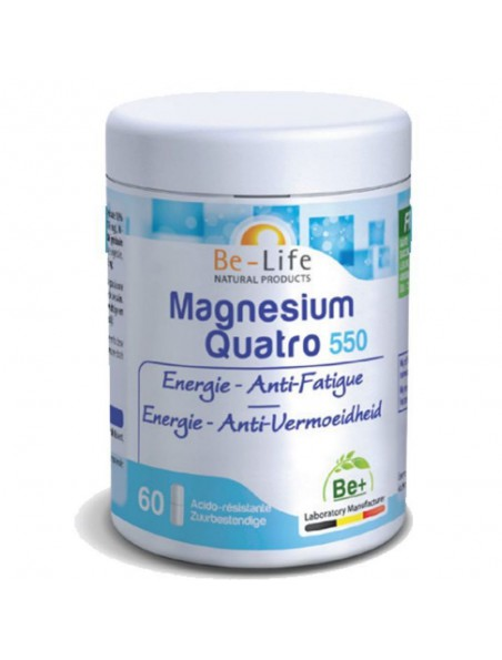 Magnésium Quatro 550 - Energie & Anti-fatigue 60 gélules - Be-Life