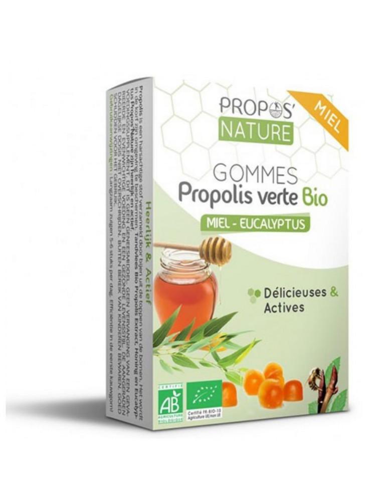 Gommes Propolis verte Bio Miel et Eucalyptus - Délicieuses et Actives 45 g - Propos Nature