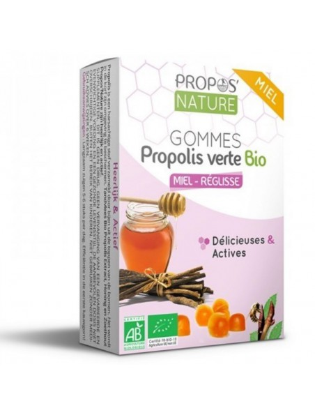 Gommes Propolis verte Bio Miel & Réglisse - Délicieuses et Actives 45 g - Propos Nature