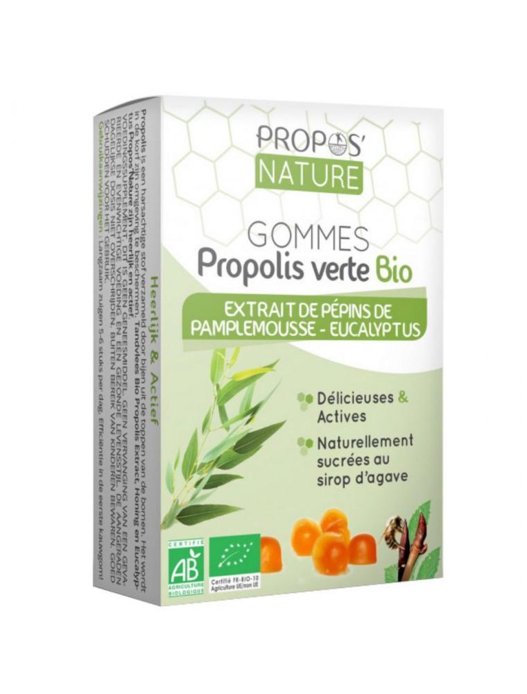 Gommes Propolis verte Bio Extrait de pépins de pamplemousse et Eucalyptus 45g - Propos Nature