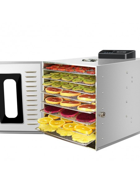 Déshydrateur Inox 400 W 8 grilles 28.5 - 20 cm à commande digitale