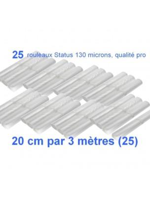 Lot de 25 rouleaux gaufrés 130 microns 20 cm x 3 mètres - Status