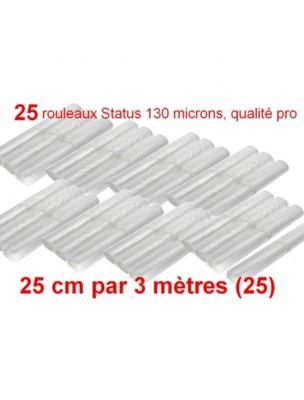 Lot de 25 rouleaux gaufrés 130 microns 25 cm x 3 mètres - Status