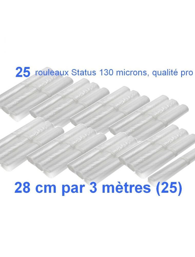 Lot de 25 rouleaux gaufrés 130 microns 28 cm x 3 mètres - Status