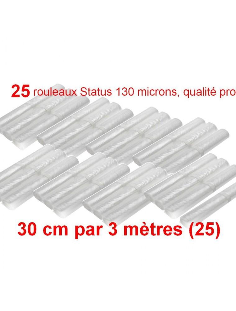 Lot de 25 rouleaux gaufrés 130 microns 30 cm x 3 mètres - Status
