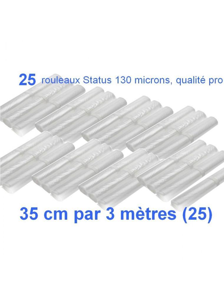 Lot de 25 rouleaux gaufrés 130 microns 35 cm x 3 mètres - Status