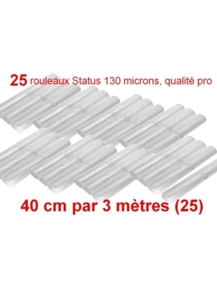 Lot de 25 rouleaux gaufrés 130 microns 40 cm x 3 mètres - Status