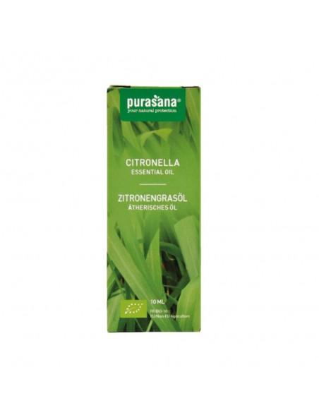 Citronnelle Bio - Huile essentielle de Cymbopogon winterianus 10 ml - Purasana