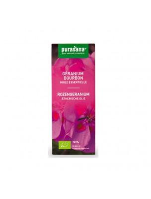 Géranium bourbon Bio - Huile essentielle de Pelargonium graveolens L'Herit. 10 ml - Purasana