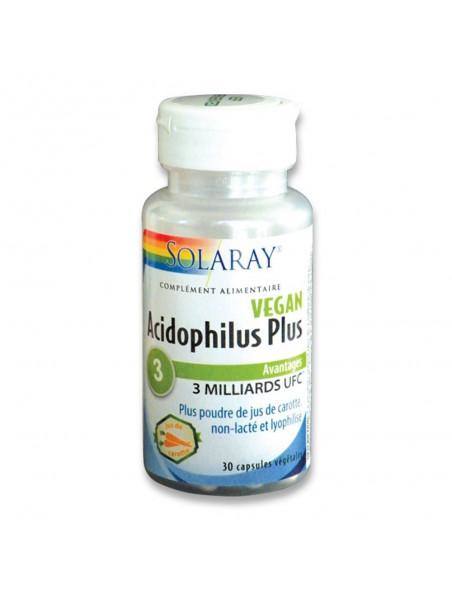 Acidophilus plus jus de carotte (non lacté) - Flore intestinale 100µg - Antioxydant 30 capsules végétales - Solaray