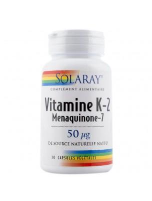 Vitamine K-2 (Menaquinone-7) - Vitamine K 30 capsules végétales - Solaray