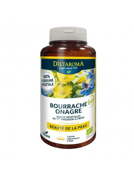 Bourrache Onagre Bio - Beauté de la Peau 180 gélules  - Dietaroma