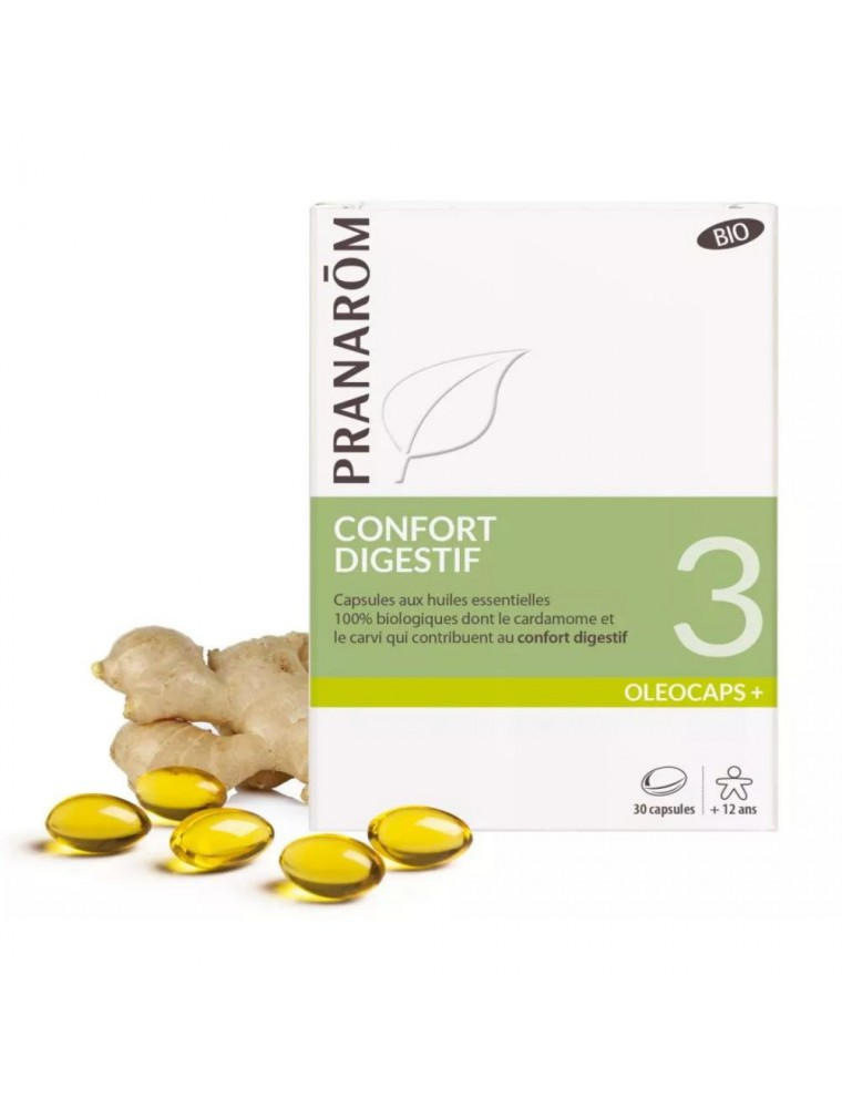 Oléocaps + 3 Bio - Confort Digestif 30 capsules d'huiles essentielles - Pranarôm