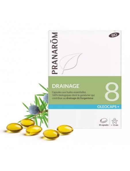 Oléocaps + 8 Bio - Drainage 30 capsules d'huiles essentielles - Pranarôm