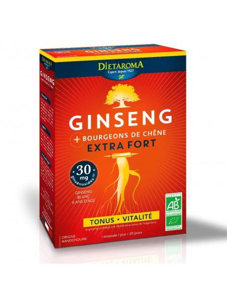 Ginseng Extra Fort Bio - Tonus et Vitalité 20 ampoules - Dietaroma