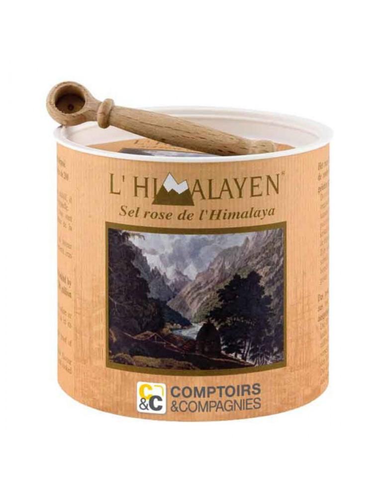 Sel Rose de l'Himalaya - L'Himalayen Boîte en bois et sa cuillère 250g - Comptoirs & Compagnies