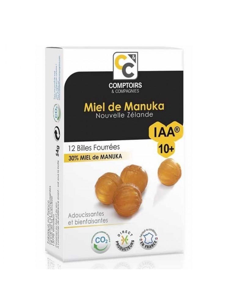 Billes fourrées 30% miel de Manuka IAA10+ - Adoucissantes pour la gorge 12 billes - Comptoirs et Compagnies