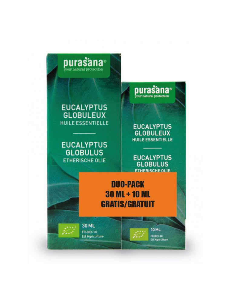 Eucalyptus globuleux Bio - Huile essentielle d'Eucalyptus globulus Labill. 30 ml + 10 ml offert- Purasana