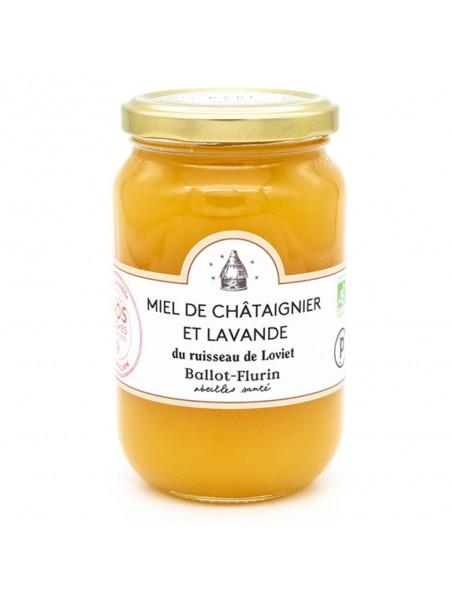 Miel de Châtaignier et Lavande Bio 480g - Miel doux et rare - Ballot-Flurin